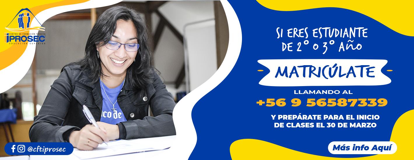 Matrículas de estudiantes de 2do Año desde el 20 al 31 de marzo